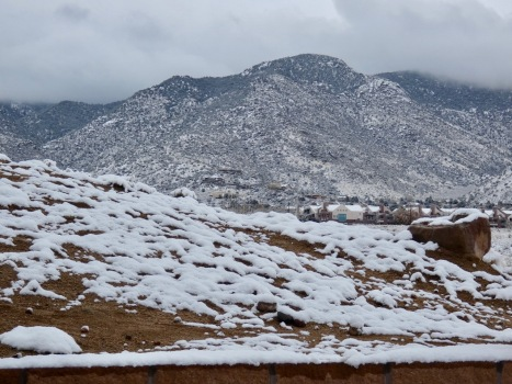 Sandia mountains in snow